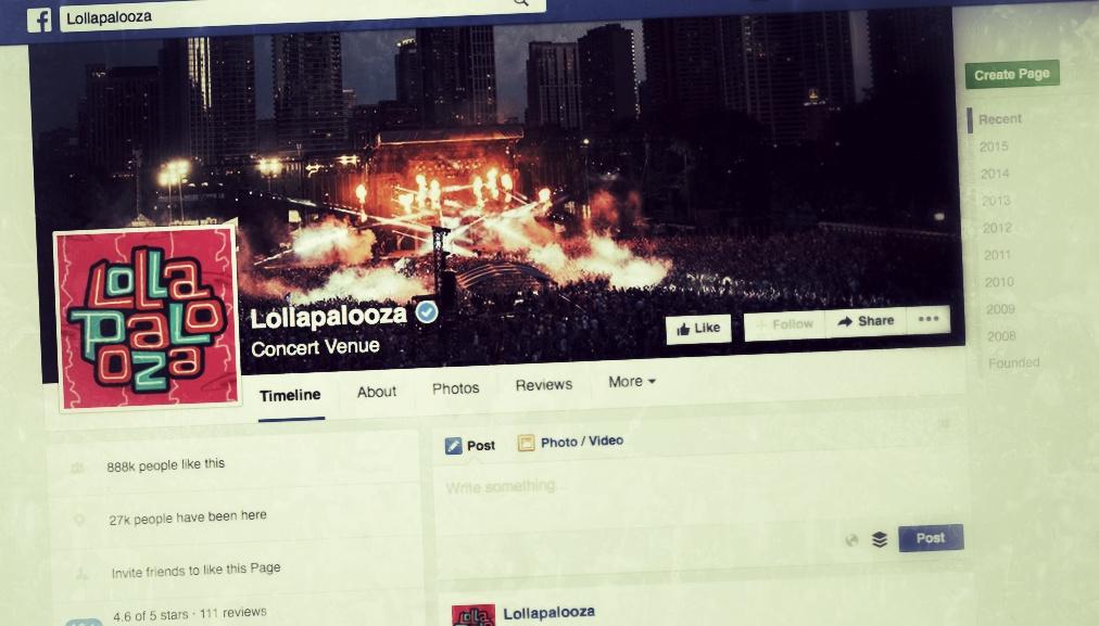 Lollapalooza en Facebook
